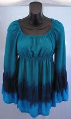 Blue Waves Peasant Blouse