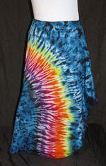 Rainbow Striped Blue and Black Marble Lotus Skirt