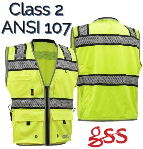 be4d24d0a49 Class 2 ANSI ISEA ONYX Class 2 Surveyor s Safety Vest GSS 1511