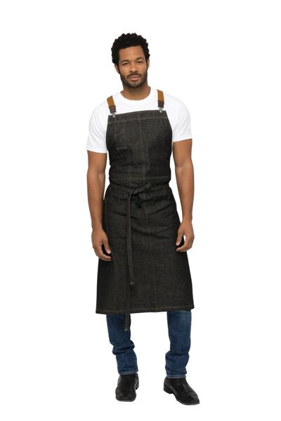 Chef Works [ACS01BLK] Berkeley Chefs Bib Apron: Black Denim