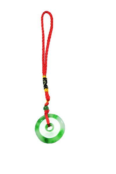 Chinese Feng Shui Green Jade Rhodium Symbol Handbag Charm Hanging