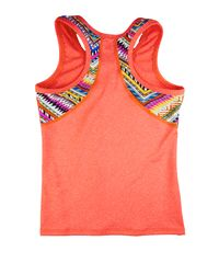 Heathered coral tank with zig zag back detail