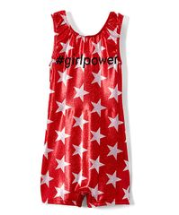 #girlpower red glitter star biketard