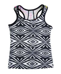Sport black and white graphic tank with zig zag back detail