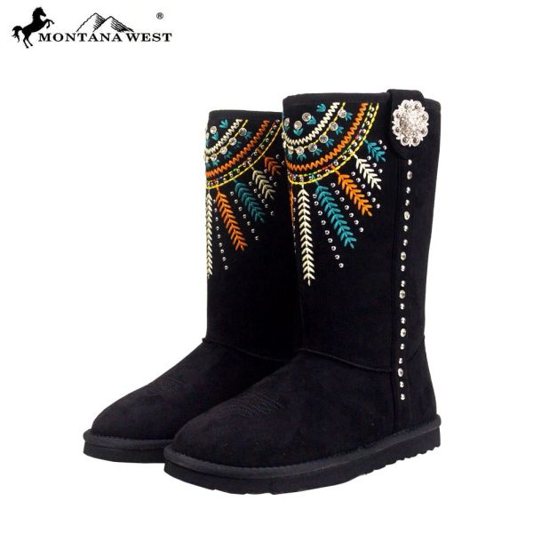 Montana West Black Embroidered Fringe Western Boots