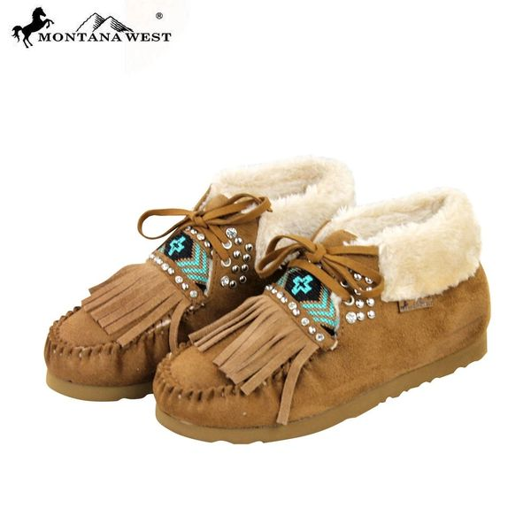 144aab2b224a3 Brown Aztec Leather Fringe Rhinestone Montana West Moccasins | Montana West  Girl: Montana West Bags: gimme5 for 5% Discount