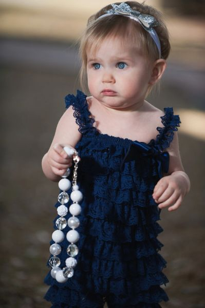30928d8970b Navy Petti Romper or Lace Baby   Child Romper for Girls