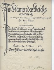 Adolf Hitler & Franz Seldte signed document