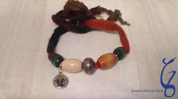 Yarn & Moon Wrap Around Bracelet-SOLD