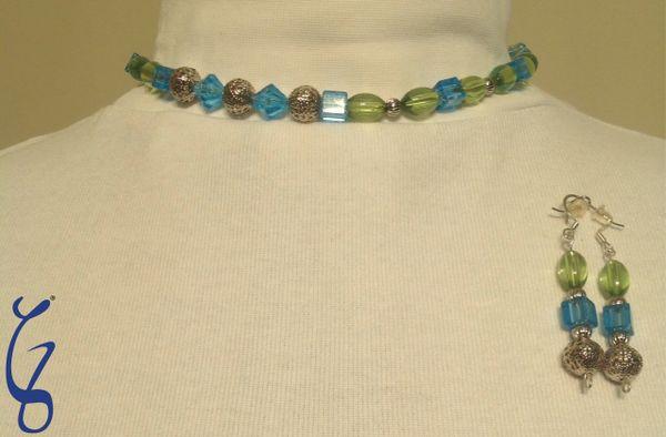 Green & Blue Choker with Earrings-SOLD