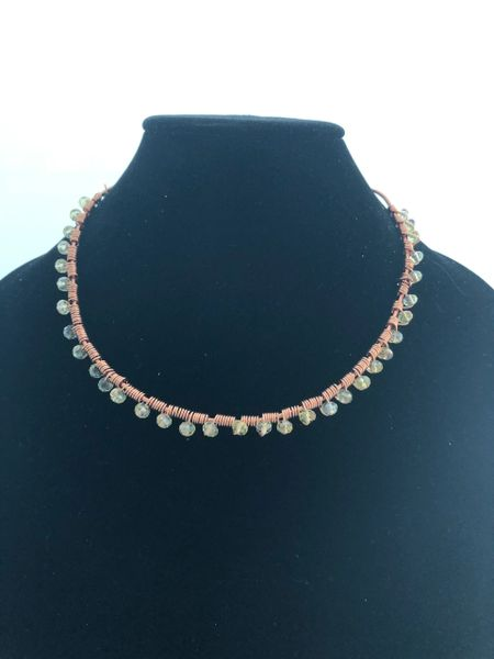 COPPER TWIST WITH CRYSTALS WITH SMOOTH LEATHER