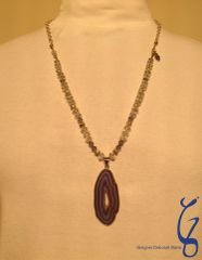 Blue Crystal with Silver Chain