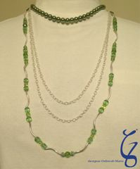 Green Pearl Chain & Crystal