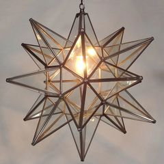 Moravian Star Pendant Light, Clear Glass, Bronze Frame, 21″