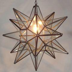 Moravian Star Pendant Light, Clear Glass, Bronze Frame, 18″