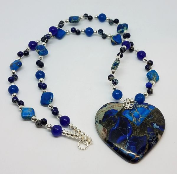 Blue Sea Sediment Jasper Heart Necklace