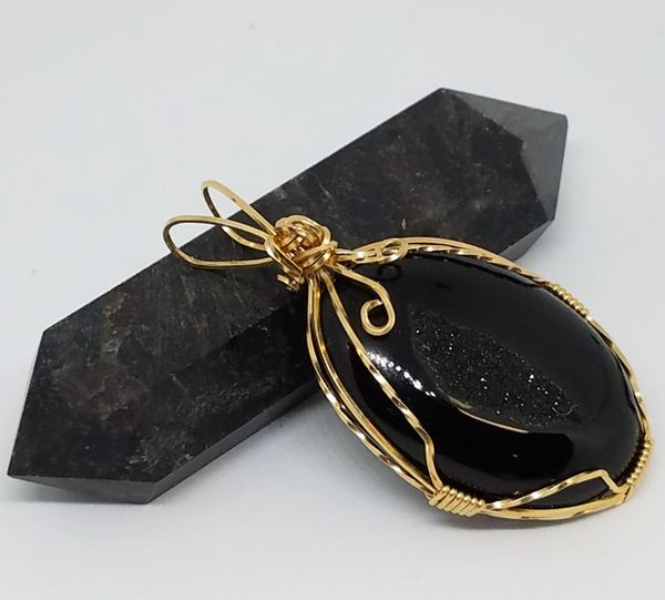 Gold Filled Wire Wrapped Black Onyx Pendant