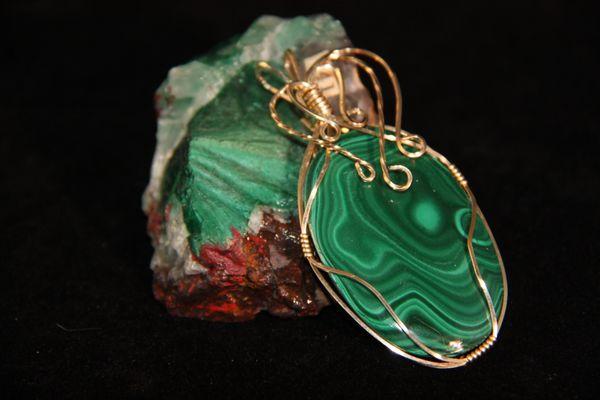Malachite Pendant in Gold filled Wire