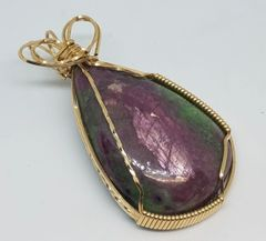 Ruby in Fuchsite Gold filled, wire wrapped pendant