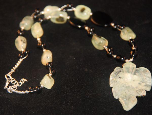 Prehnite and Black Onyx Necklace