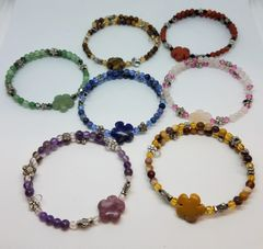 Flower Gemstone Bangle Bracelets