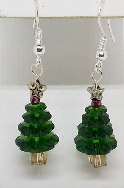 Swaroski Crystal Cristmas Tree Earrings
