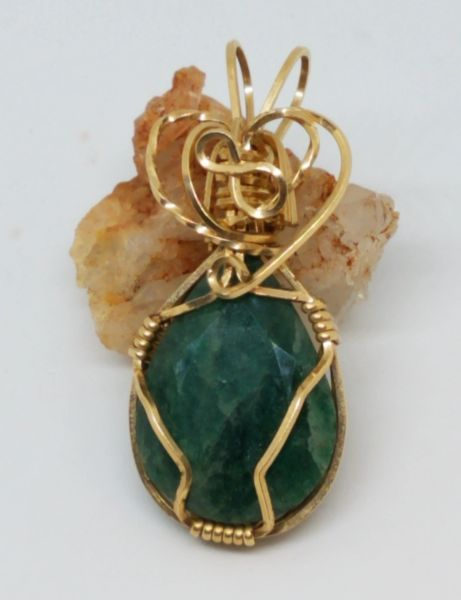 Wire Wrapped Emerald Pendant