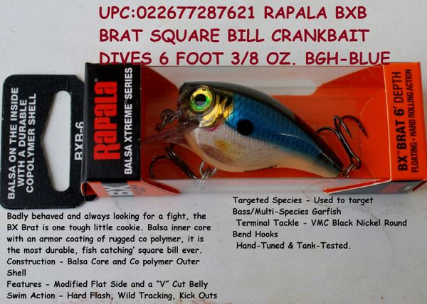 RAPALA BXB BRAT SQUARE BILL CRANKBAIT DIVES 6 FOOT 3/8 OZ
