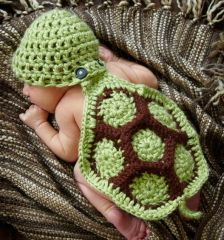 Crocheted Handmade Turtle 2 Piece Set for baby