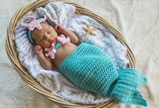 Crocheted Handmade Mermaid 3 Piece Baby Set Nic Nac Stop