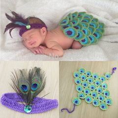 Crocheted Handmade Peacock 2 piece baby set