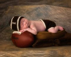 Crocheted Handmade Football 2 Piece Baby Set