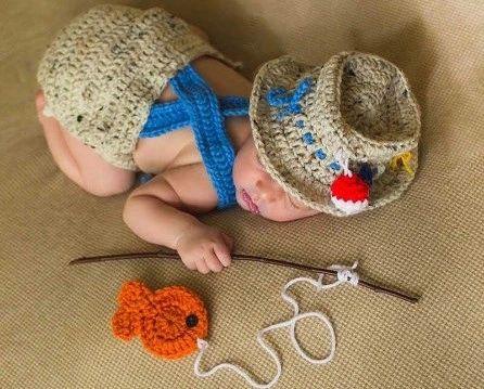 5fd00f8cb Crocheted Handmade Fisherman 2 Piece Set for Baby