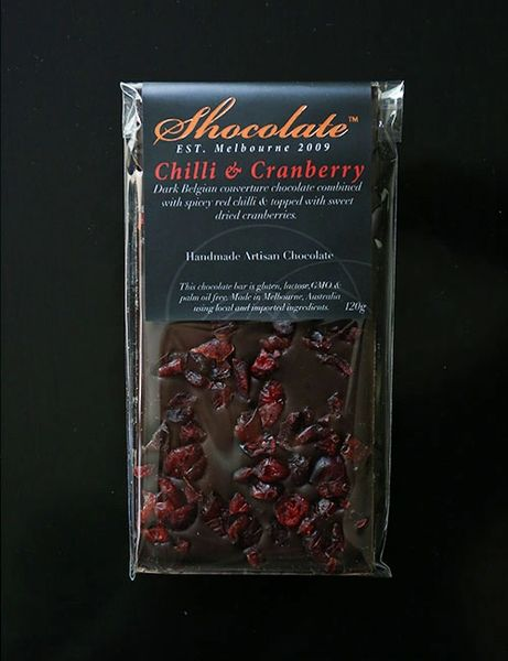 Dark Chilli & Cranberry Couverture Chocolate Bar