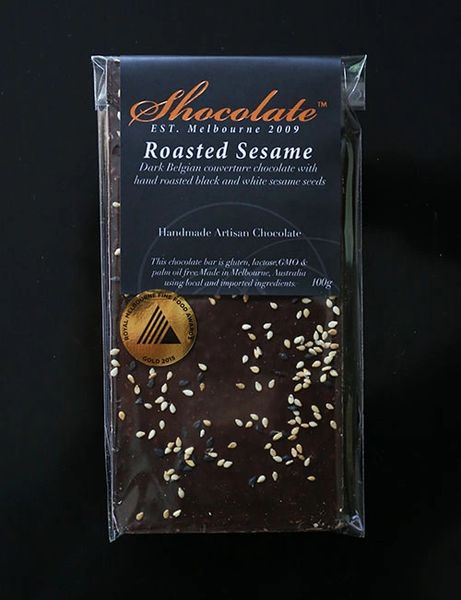 Dark Roasted Sesame Couverture Chocolate Bar