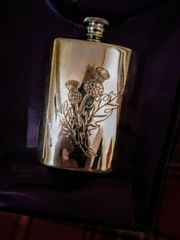 Pewter Flask Thistle Design - Edwin Blyde of Sheffield, England