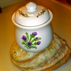 Scottish Stoneware Thistle Sugar Pot