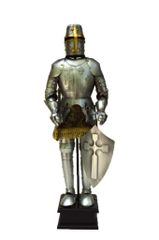 """Handcrafted 18"""" Medieval Germanic Christian Knight In Full Plate Armor with Great Helm & Sword Statue (Circa. 1420)"""