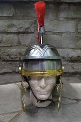 Medieval REPLICA ROMAN CENTURION Steel Helmet with Red Plume & Fully Lined Interior