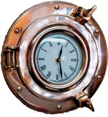 "Nautical 9"" Brass Porthole Wall Clock"
