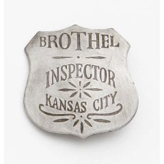 Brothel Inspector Kansas City Badge by Denix - Antique Silver Finish