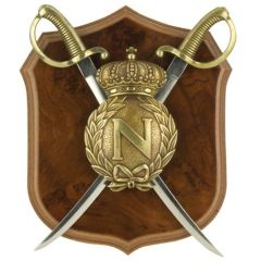 Napoleonic Shield & Pair of Mini Sabre Letter Opener