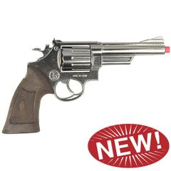 Police Style 12 Shot Cap Revolver - Chrome
