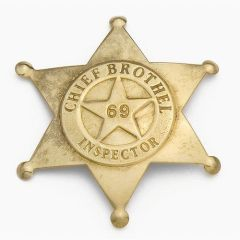 Old West Denix Replica Chief Brothel Inspector's Badge– Antiqued Brass Finish