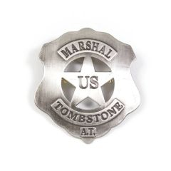 Old West Denix Replica Tombstone U.S. Marshall's Badge – Antique Silver Nickle Metal Finish