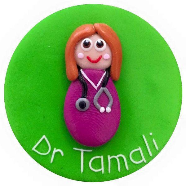 Female Doctor Scrubs Badge