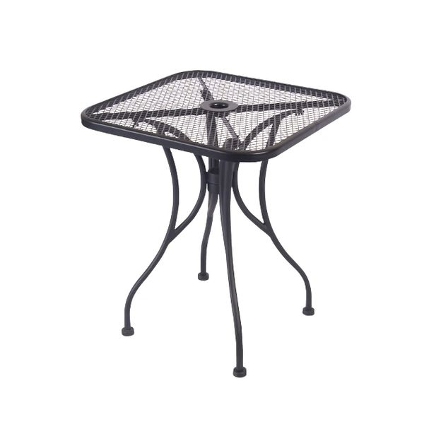 "Outdoor Restaurant Cafe Wrought Iron Table with Base Black Mesh Top 24"" X 24"" Square"