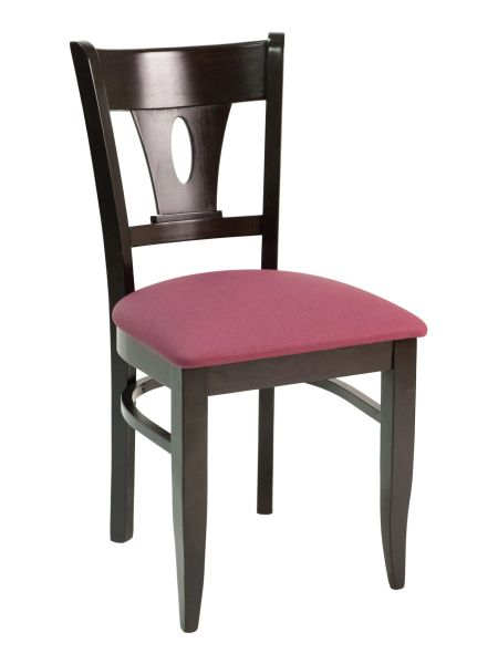 18. Wood V-Back Upholstered Padded Seat Restaurant Dining Chair