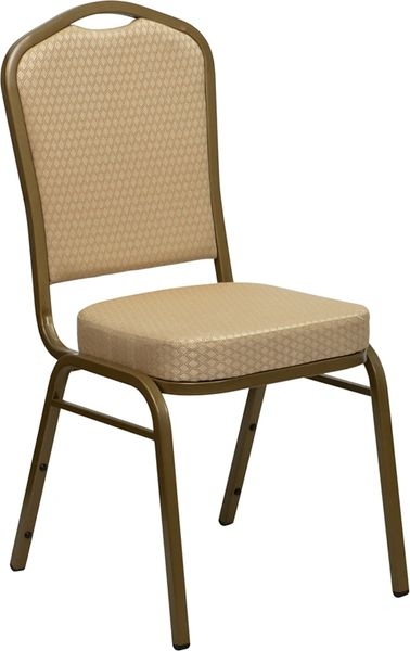 Metal Banquet Stack Chair Gold Frame Finish Beige Fabric Seat and Back