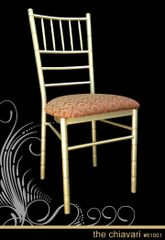 Metal Ballroom Chiavari Chair Champagne Frame Finish Padded Vinyl or Fabric Seat part of chairs and barstools collection